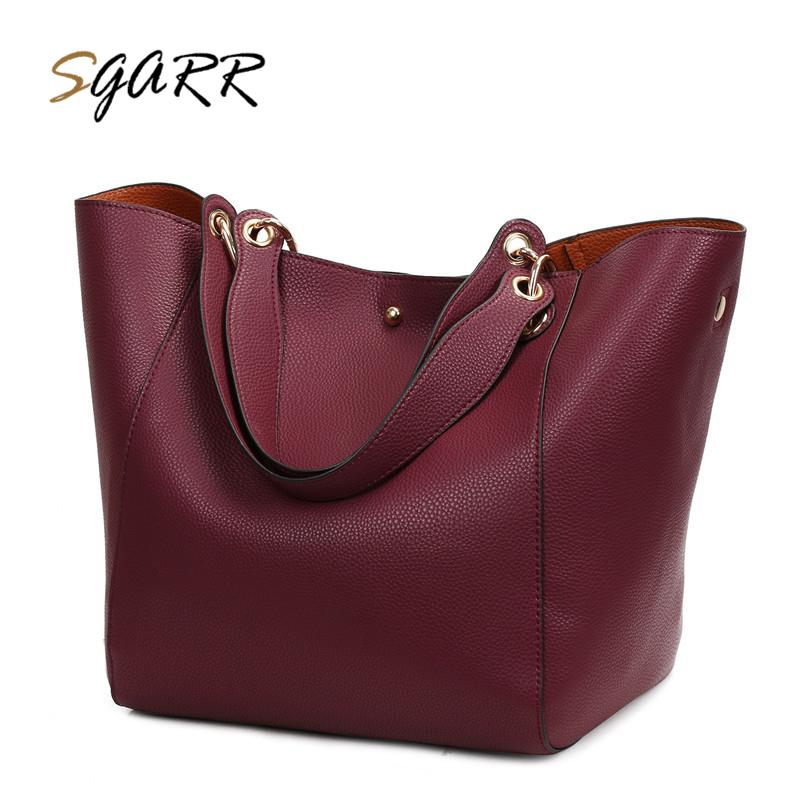 746d9c521e94 SGARR Red Black Grey Brown Women Big Tote Handbag Fashion Large Female Purse  Ladies Party Hasp Soft Leather Wine Shoulder Bags Over The Shoulder Bags  Hobo ...