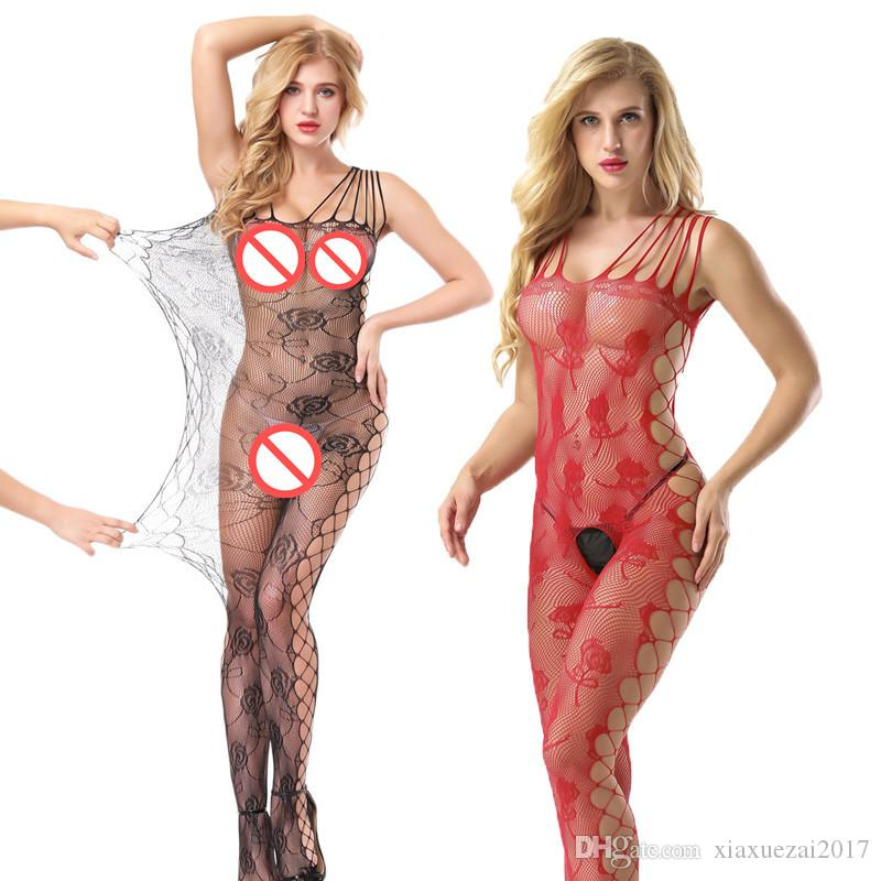 51cd9b1fe 2019 Sexy White Sleepwear Lingerie Babydoll Bodysuit Mesh Catsuit Black Red  Floral Body Stocking Garter Teddy Fishnet Catsuit Nightwear Costumes From  ...