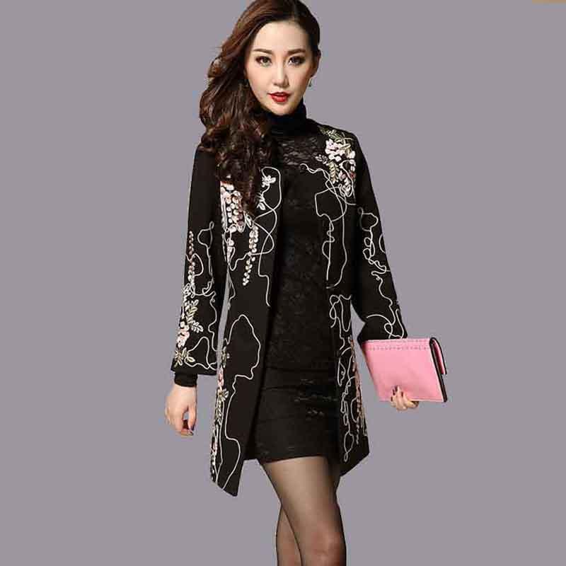 Womens Beautiful Coat 2017 New Ladies Embroidery Coats Flowers Pattern Tweed Large Plus Big Size Slim Long Embroideried Coat 4XL