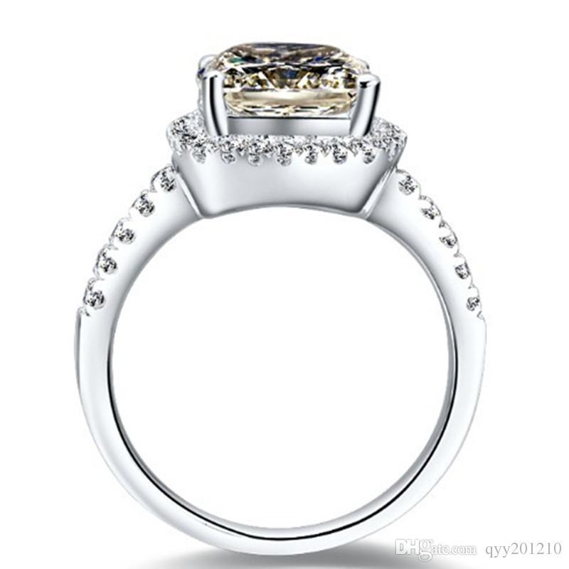 925 стерлингового серебра ювелирные изделия 3 карата Отличная подушка вырезать ясно Сона синтетические бриллианты кольцо обручальное женщины белое золото цвет