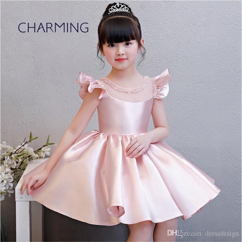 bd3d64f7599 Satin Dress Knee Length Dresses Kid Pageant Dresses Suitable For School  Season Graduation Dance Performances Flower Girl Dress White Communion  Shoes White ...
