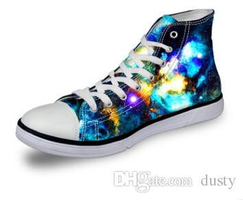 Men Casual Shoes Hight Top Upstream Shoes 3D Sky Galaxy Printing Lace-Up Flats Shoes Comfortable Big Size for men women