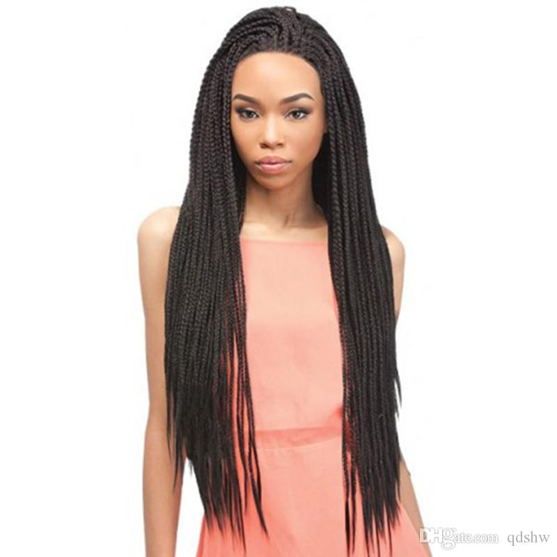 Cheap Braided Lace Wigs Synthetic For African American Black Braiding Synthetic Twist Lace Front Wigs With Baby Hair