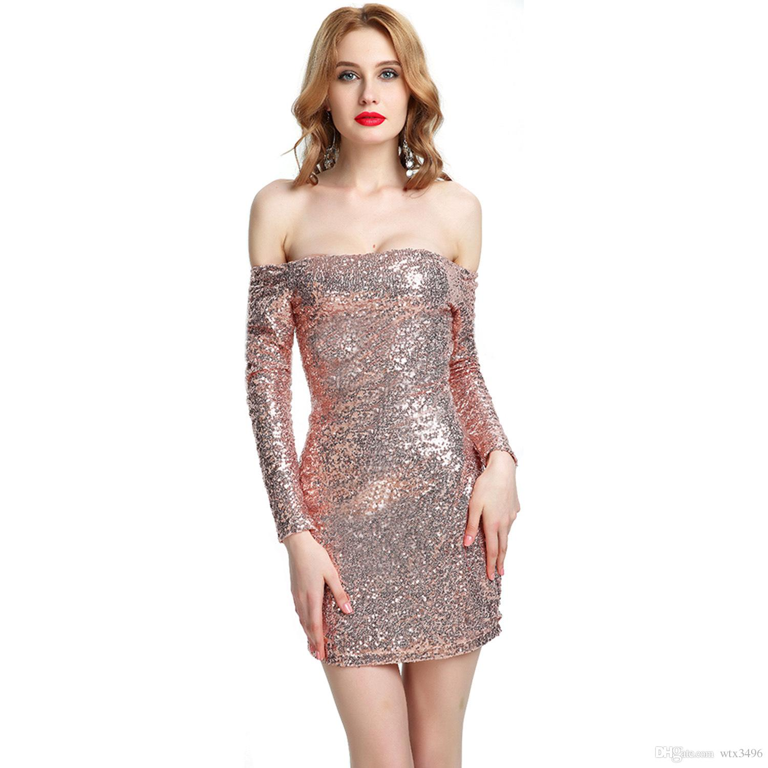 80050c9b59047 Sexy Off Shoulder Long Sleeve Sequins Bodycon Party Dress Rose Golden Black Plus  Size Slash Neck Backless Sexy Club Wear Dresses Party Dress Slim Dress Sexy  ...