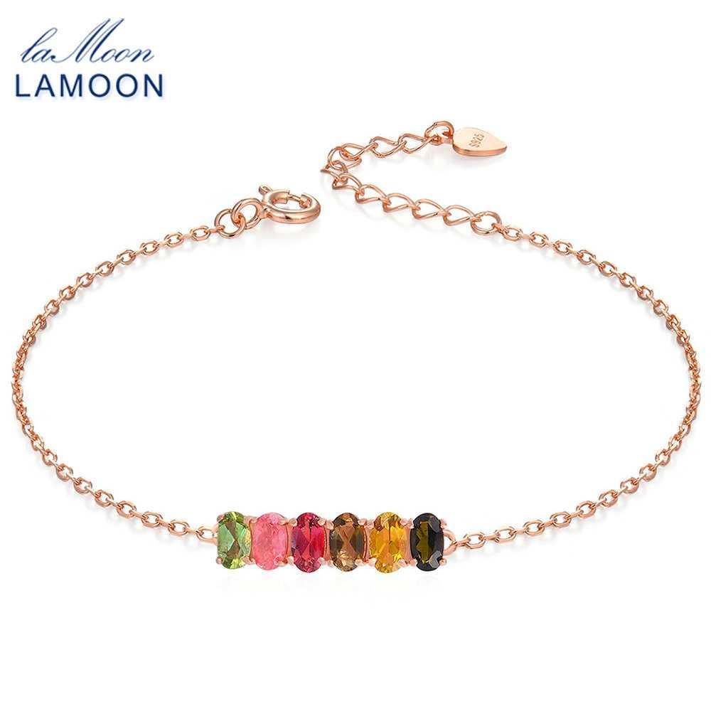 LAMOON Classic 100% Natural 6pcs Multi-Color Oval Tourmaline 925 Sterling Silver Jewelry S925 Bracelet LMHI018