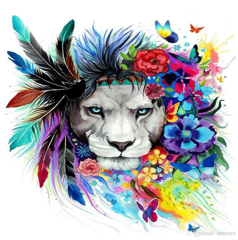 Großhandel Voller Bohrer 5d Diamond Painting Colorful Lion Kunst