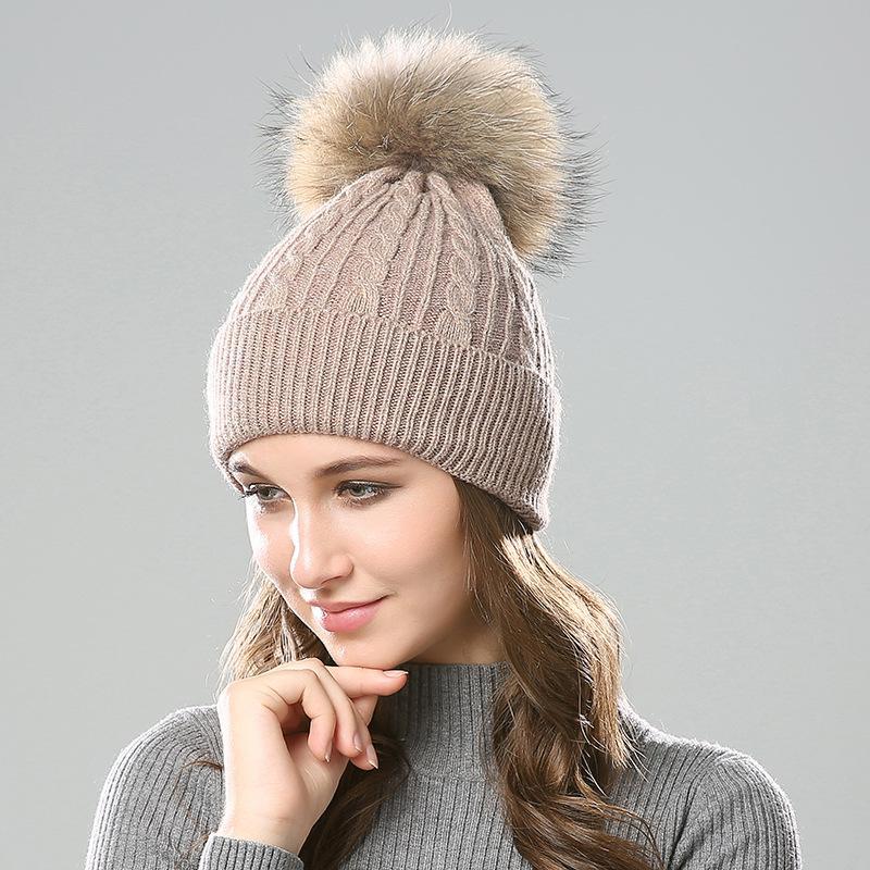 2c7cb0ae6cb 2019 Raccoon Fur Ball Winter Joker Ladies Wool Knit Hat Small Twist Warm  Pullover Wool Cap From Gwyseller