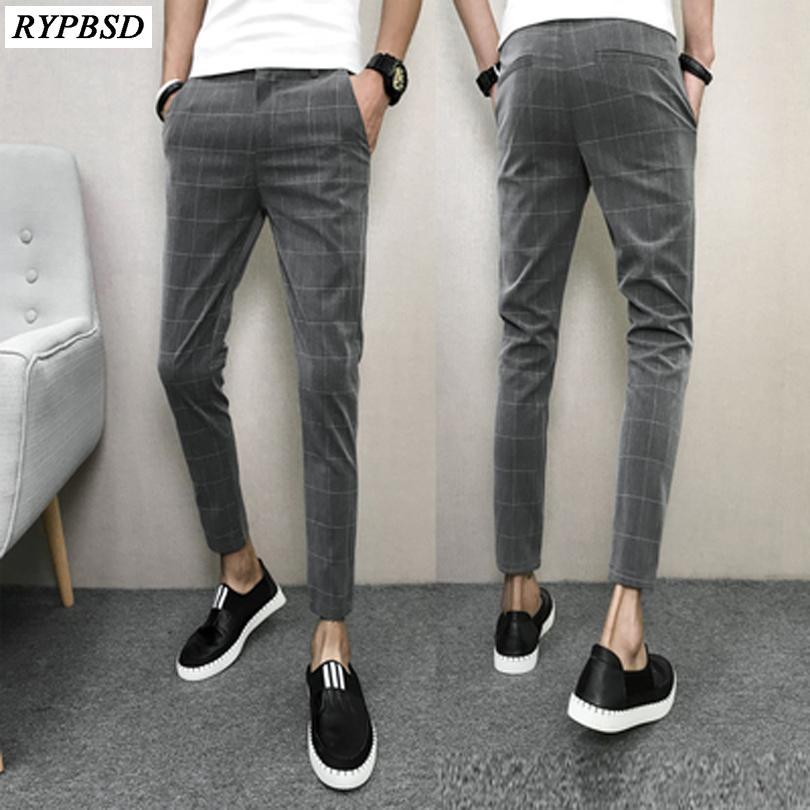 564886d2341 2019 Korean Pants Men Spring Slim Fit Casual Men Plaid Pant Ankle Length  Black Comfortable Clothes 2018 Brand Men S Trousers From Octavi