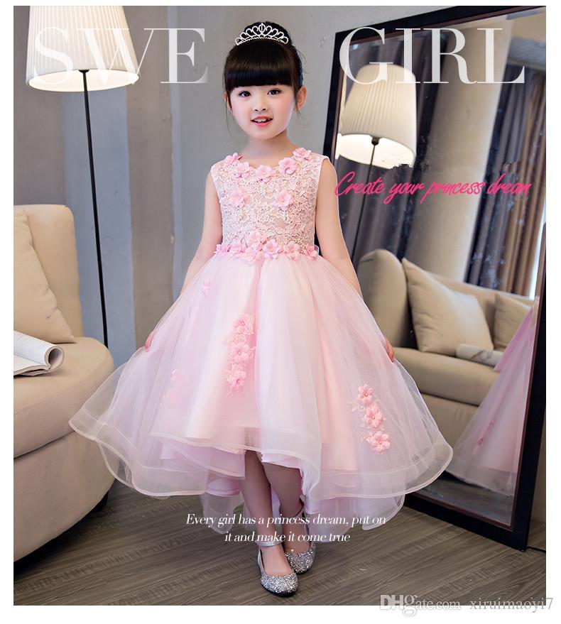 Elegante chica rosa de encaje vestido de novia Verano sin mangas de los appliques fiesta de tul princesa vestido de cumpleaños Niños primera comunión vestido