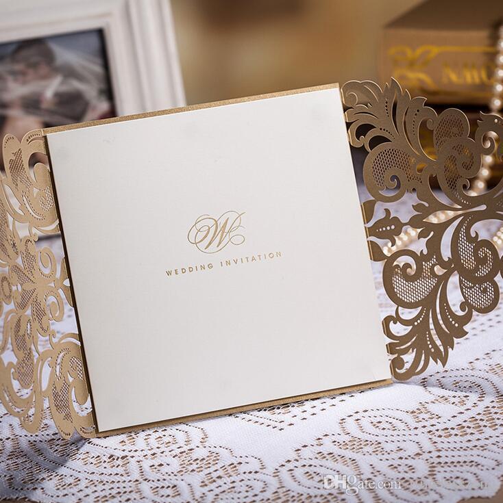 Tarjeta de invitación de boda perfecta 146 * 146 mm Tarjeta de invitación Tarjeta de boda con sobre interno de papel y sello de oro rojo blanco