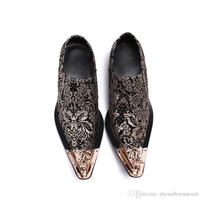 İtalyan Erkek Ayakkabı Elbise Ayakkabı Çivili Flats aylaklarının Black Gold Gerçek Deri Lüks ayakkabı erkekler