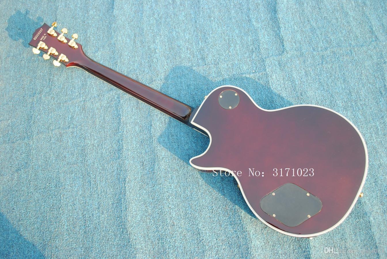 Les fabricants de gros vendent du tabac SunBurst Tiger Flame Top guitare, Custom Chinese Electric guitars