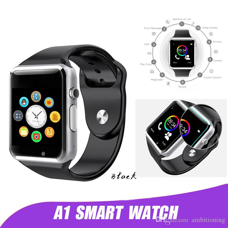 823afbaa4a7 Compre A1 Smart Watch Relógio Sync Notifier Suporte Sim Tf Cartão De  Conectividade Para Ios Android Smartwatch De Ambitioning
