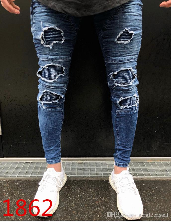 9406271977 2019 Stylish Jeans Men Clothing Draped Knee Pencil Pants Fashion Skinny  Ripped Light Washed Biker Jean From Gentlecasual, $57.09 | DHgate.Com