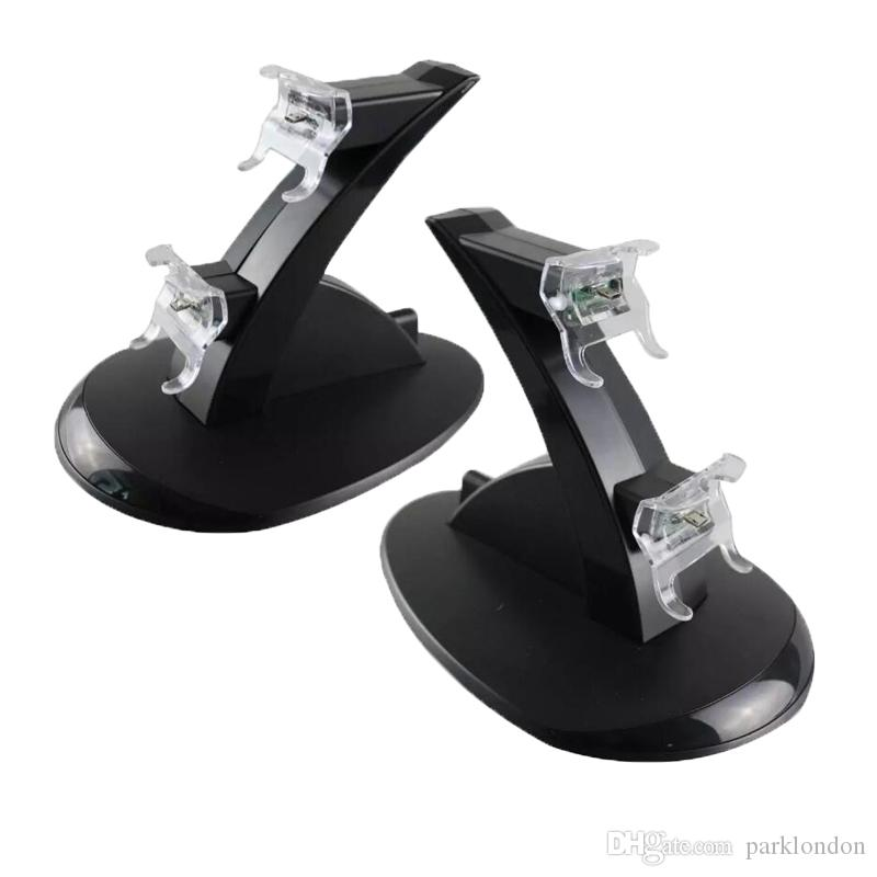 2018 Wholesale-LED Dual Charger Dock Mount USB Charging Stand For PlayStation 4 PS4 Xbox One Gaming Wireless Controller With Retail Box