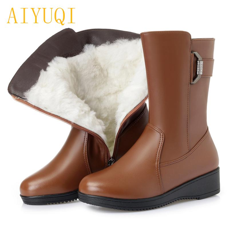 8047b25a28d44 AIYUQI Female Snow Boots Winter 2018 Genuine Leather Female Flat Boots