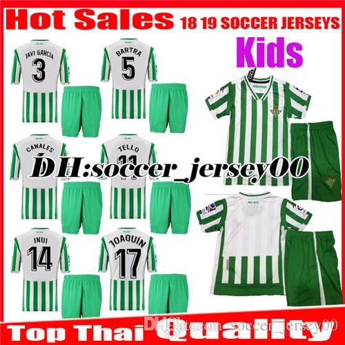 b727bcd88 2019 Kids 2018 2019 REAL Betis Soccer Jerseys HOME 18 19 JOAQUIN BOUDEBOUZ  MANDI BARTRA TELLO INUI JAVI GARCIA CANALES Children FOOTBALL SHIRTS From  ...