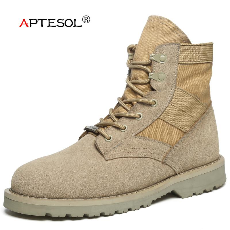 37b9bb3a5ca APTESOL Winter Suede Safety Work Shoes Men Classic Unisex Breathable  Lace-Up Casual Boots Mens Tactical Training Boots Sneakers