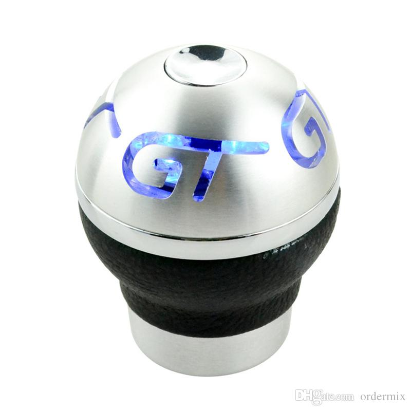 NEW Universal Car Truck Blue/Red LED Light CNC Manual Shift Knob Head Sticker car styling Gear Shift Knob For GT RC Car HOT