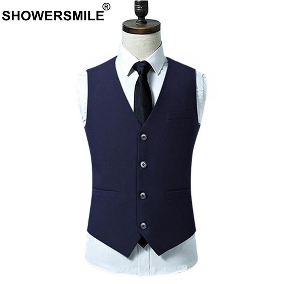 Vest 2019 Blue Style Navy SHOWERSMILE Suit Weddings Mens Waistcoats rFqFBI