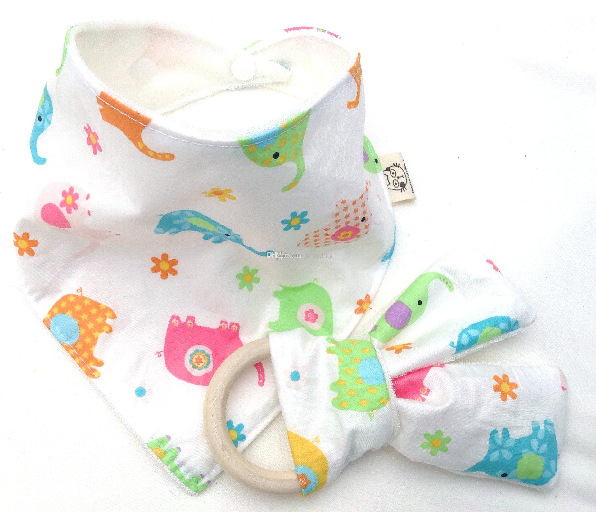 10 Styles Baby Bibs+Teeth Stick Cotton bamboo fiber Infant Wave pattern Burp Cloths Teething Ring Wooden Teething Training C4423