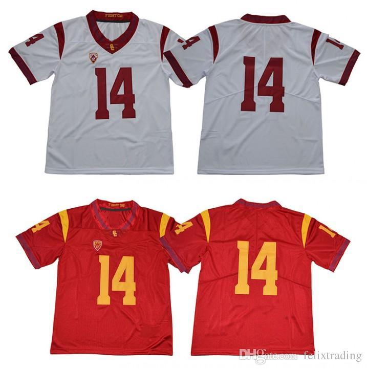 watch ecfea ece52 USC Trojans Jersey 14 Sam Darnold Jersey Men college Football USC Trojans  Whte Red Men Football Jersey