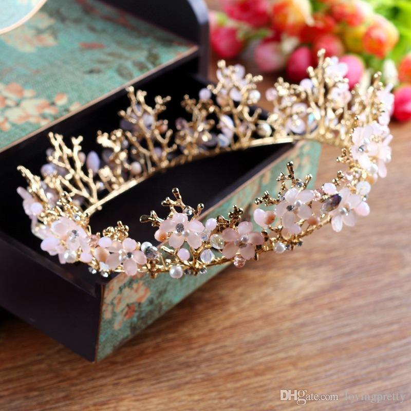 JaneVini 2018 Pink Vintage Crown Round Full Crystal Tiara Bridal Hair Accessories Handmade Rhinestone Bride Quinceanera Tiaras New Arrival