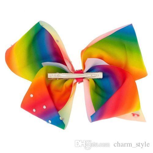 3 style 8inch JoJo Siwa Large Gem-tastic Pink Hair Bow W/ Round & Bow Shaped Stones girl hair bow headwar Hair accessories