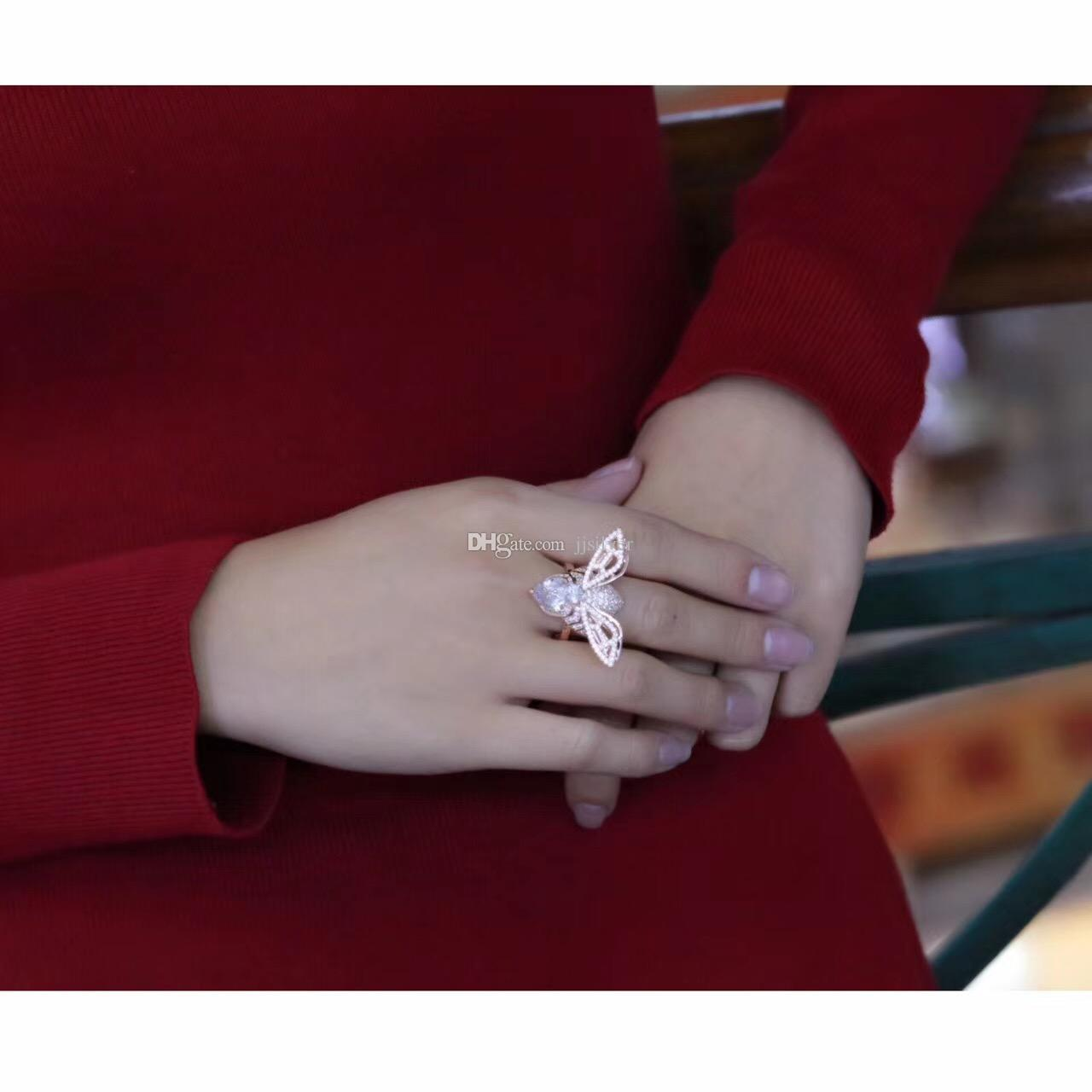 100% Authentic 925 Sterling Silver Real White / Gold / Rose Gold Bee Rings with White & Yellow CZ Stone for Women Jewelry Wedding Party Ring