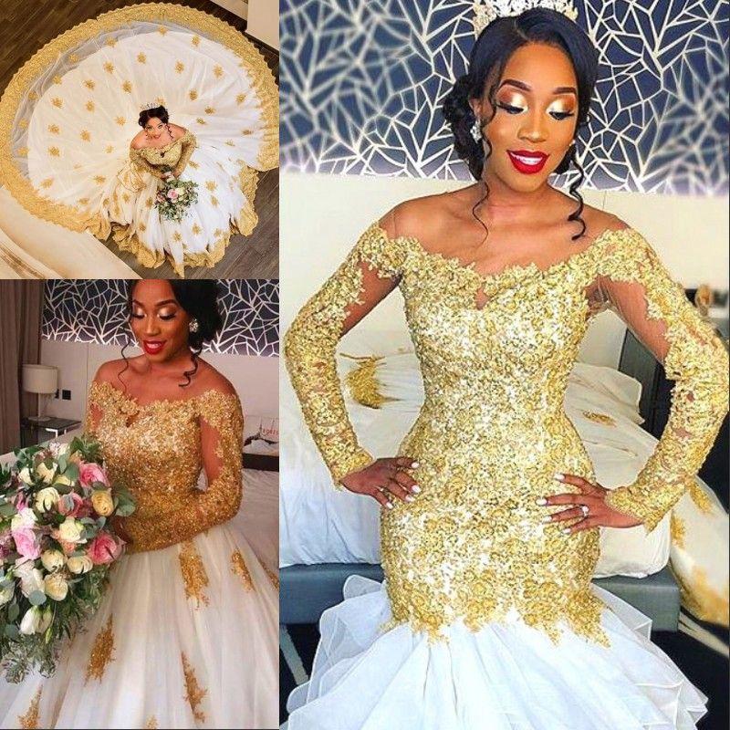 671d0c387e5 Luxury Golden Mermaid Wedding Dress With Detachable Train Crystal Beads  Lace Applique Long Sleeve Bridal Dress Amazing Africa Wedding Dress Plus  Size ...