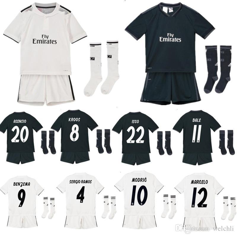 61b329d1 2019 Perfect Madrid 2019 Kids Soccer Jersey Kids Football Kits Soccer  Uniform 18 19 Kids Custm Ronaldo 7 Bale 11 Isco 22 Asensio 20 From Welchli,  ...