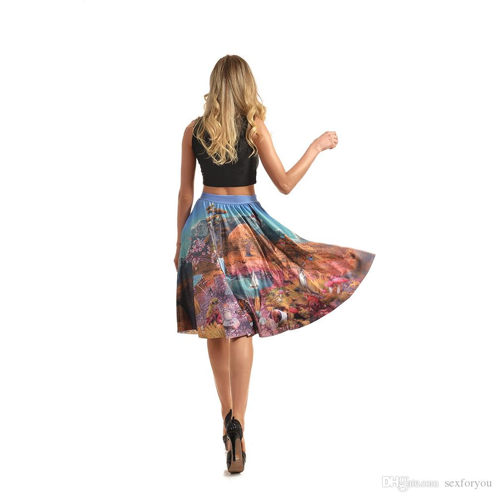 Pottis Women Oil Paint Print High Waist Pleated Skirt Skater Pockets Fashion Elegant Vintage Saia Knee Length Plus Size