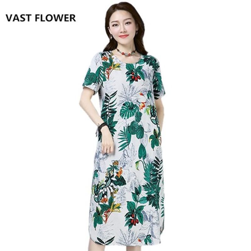 500ab537760 Fashion Cotton Linen Plus Size Floral Print Clothes Women Casual Loose Long  Summer Dress Vestidos Femininos 2018 Dresses Dresses From Women In Long  Dresses ...
