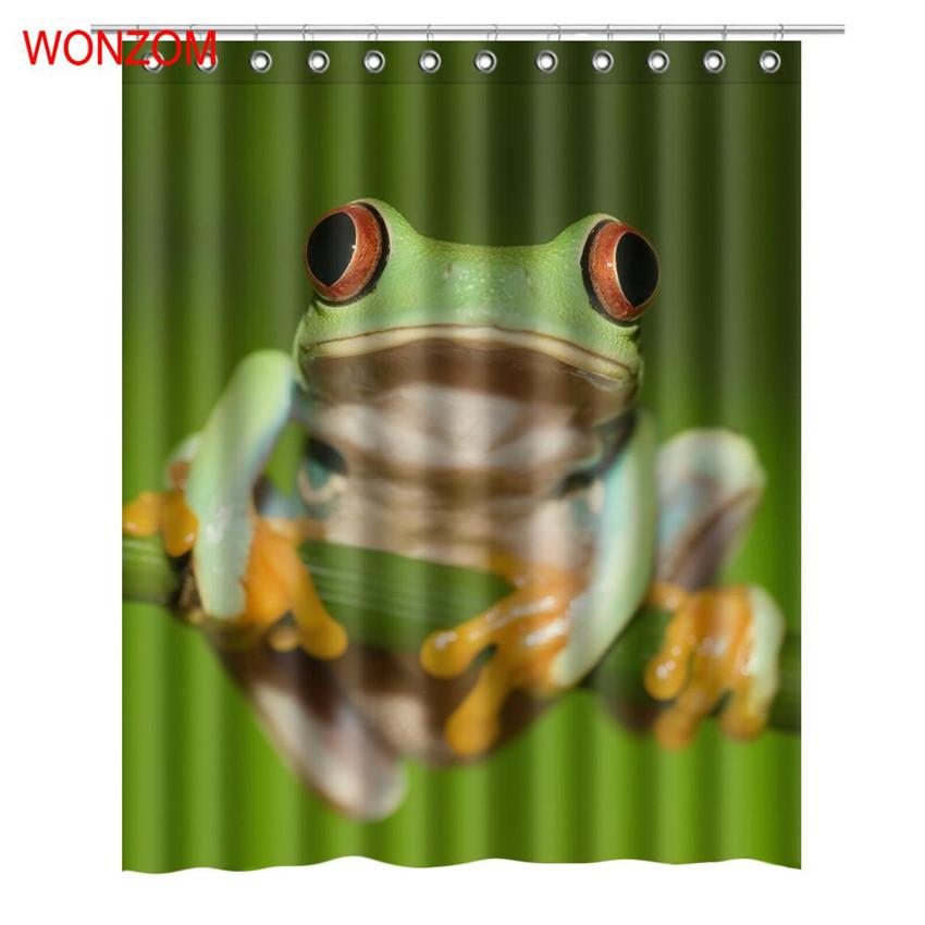 2019 WONZOM 3D Tree Frog Shower Curtains With 12 Hooks For Bathroom Decor Modern Bath Waterproof Curtain Accessories From Sheiler 216