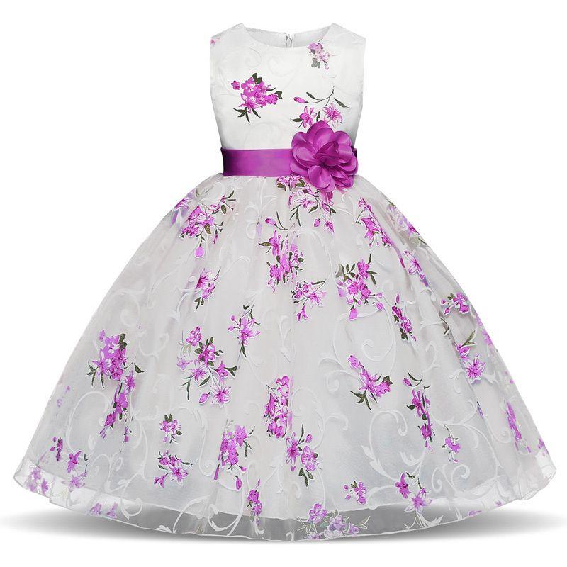 91f0b8ec7 Compre Nuevo Vestido De Niña De Flores De Verano Vestidos De Bola Vestidos  De Niños Para Niñas Fiesta Princesa Ropa De Niña Para 3 4 5 6 7 8 Años  Vestido De ...