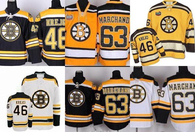 new product f9871 9e8ec Brad Marchand Jersey 46 David Krejci 63 Boston Bruins Jerseys black home  white road cheap ice hockey jerseys
