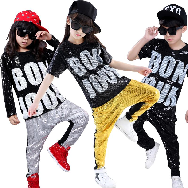 63561d46a24e 2019 Girls Boys Sequins Modern Jazz Dance Outfits Tops Pants ...