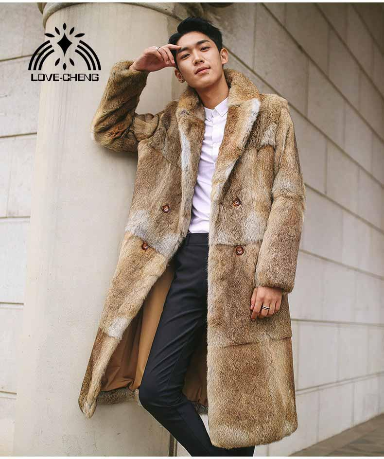 59073efef New real genuine natural rabbit fur coat men long fashion turn-down collar  jacket outwear overcoat custom any size