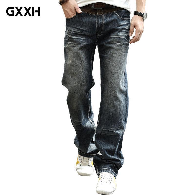 Acquista 2018 Grandi Dimensioni Baggy Jeans Allentati Larghi Gli Uomini  Stile Casual Moda Jeans Denim Diritto Mens Pantaloni Larghi Del Piedino  Grande ... 3858fba05022