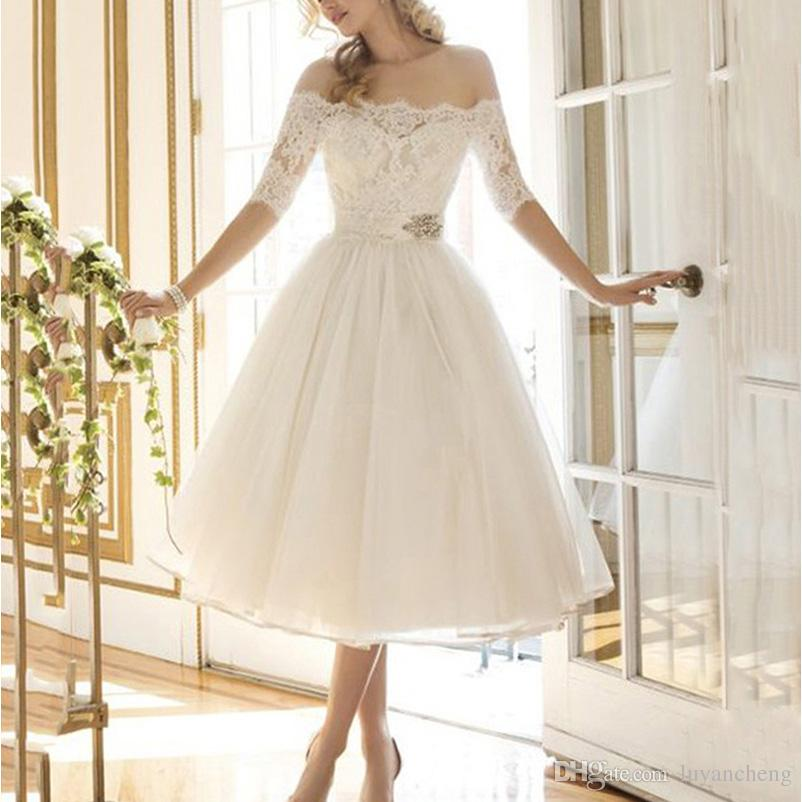 Discount Gorgeous White Lace Appliques Short A Line