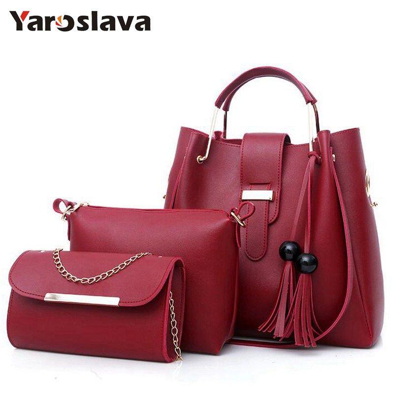 2018 Women Handbags PU Leather Shoulder Bags Tassel Handle Designer ... 7388328ded9ff