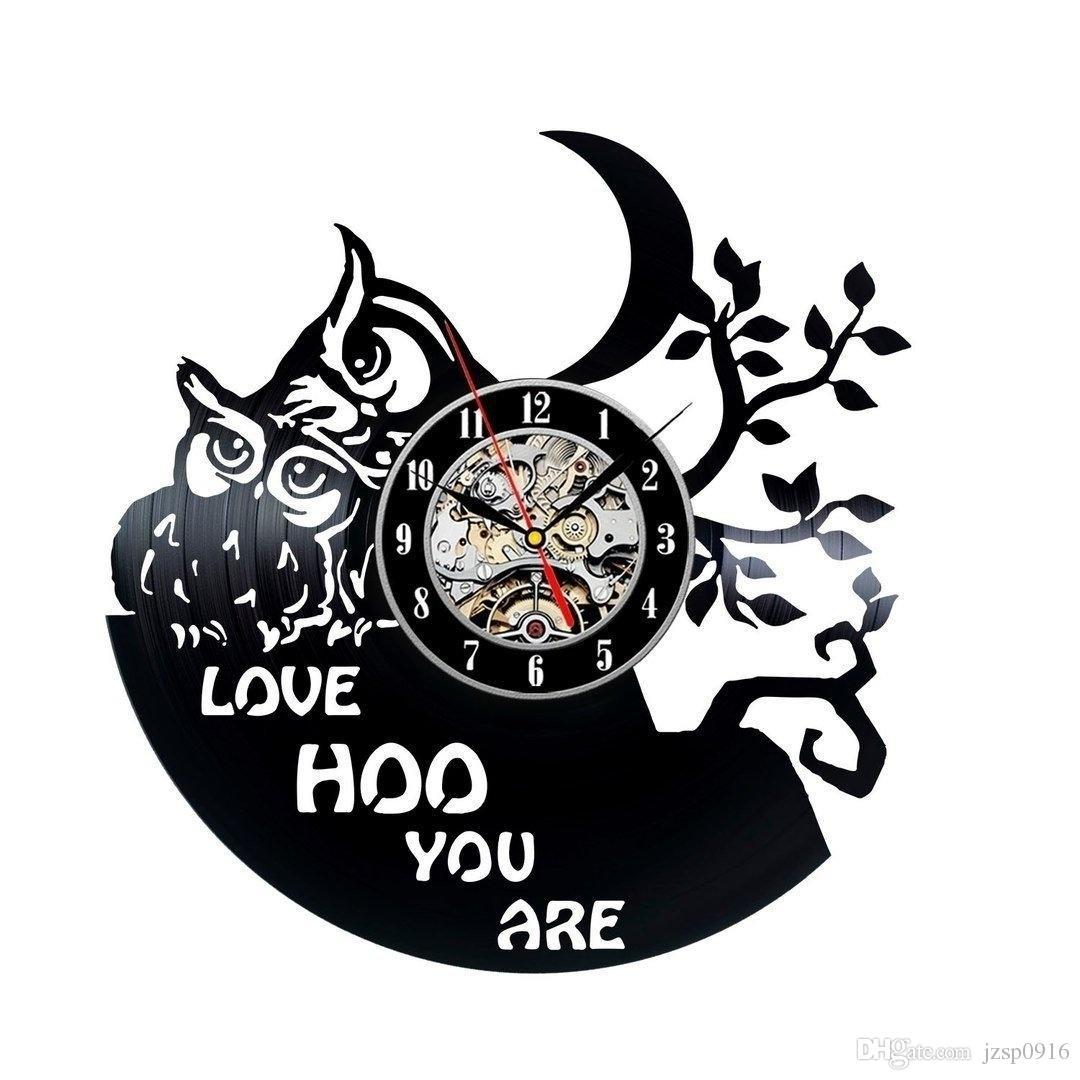 Owl Theme Handmade Vinyl Wall Clock Home Decor Handmade Art