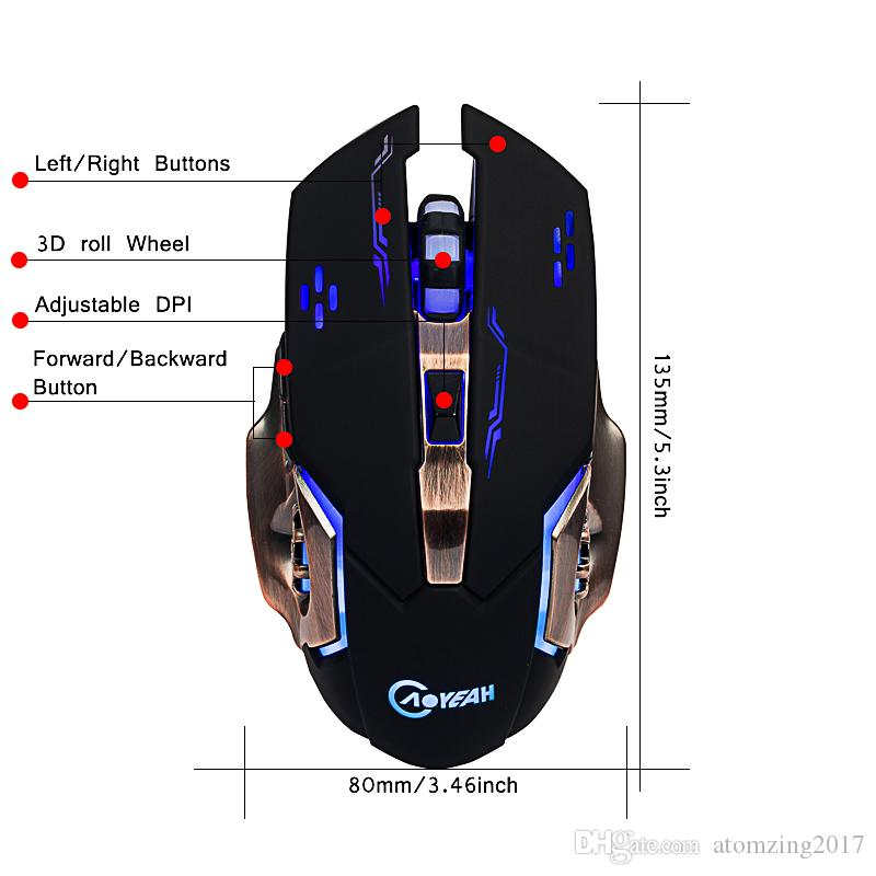 Led Retroiluminado USB Wired Carble DPI Ajustável Ergonomia Óptico 6 D Gaming Rato Ratos para Computador Do Escritório PC Souris Gamer