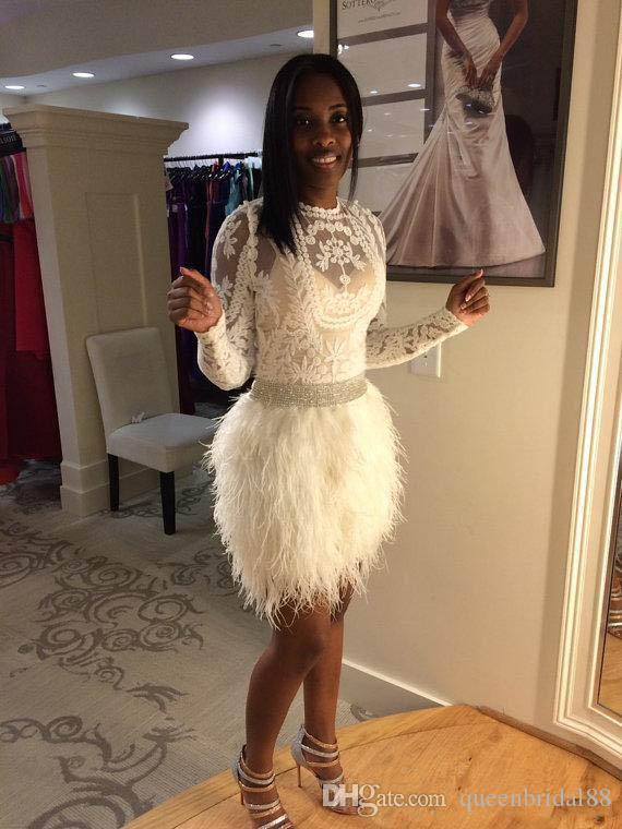Luxury Feathers Short Cocktail Party Dresses 2018 Jewel