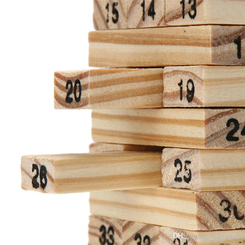 나무 도미노 완구 타워 나무 빌딩 블록 장난감 스태커 추출 교육 완구 어린이 도미노 게임 완구