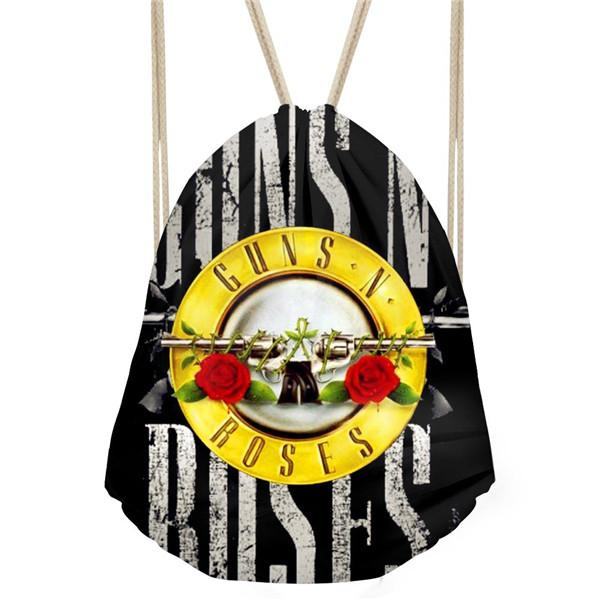 Noisy Designs Backpack Guns N' Roses Printed Men's Cool Drawstring Backpack Black Small Beach Bags Feminine Backpacks
