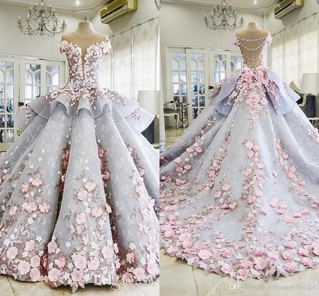 9da77249c37cf 2018 Tiered Quinceanera Ball Gown Dresses 3D Flower Lace Applique Cap  Sleeves Sweet 16 Floor Length Open Back Puffy Party Prom Evening Gowns