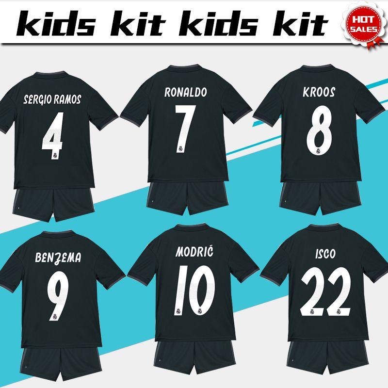 91530c90b 2019 Real Madrid Soccer Jersey Kids Kit 18 19 Real Madrid Away Soccer  Jerseys RONALDO RAMOS BALE Child Soccer Shirts Uniform Jersey+Shorts From  Xctc5320