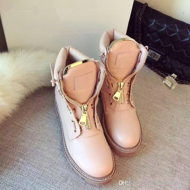 Spring Autumn Pink Black Leather High-Top Casual Shoes Women Flat Bottom Ankle Boots Round Toe Zipper Short Boots Woman Martin Boots Mujers