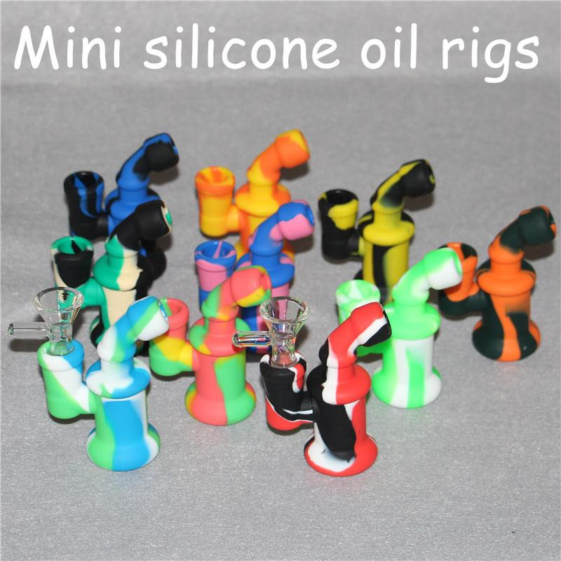 Glass Oil Rigs Glass Bong Mini Silicone Oil Rigs Heady Bubbler Water Bong with glass bowl and filtering system free DHL